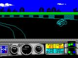 Days of Thunder ZX Spectrum There's been some contact with the track wall and the offside tyres have turned blue to indicate this. When there is contact the game makes a brief hissing sound.