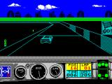 Days of Thunder ZX Spectrum The race is underway. The player must change gear. If the stick is pressed forward then the gear changes up, if its pulled back then the gear changes down. The gear graphic is in the lower left corner