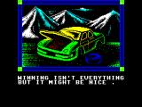 Days of Thunder ZX Spectrum This is what the payer sees after a crash. There's the spinning car graphic followed by this