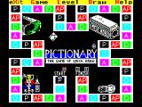 Pictionary: The Game of Quick Draw ZX Spectrum The game continues, a dice is rolled, and in order to repeat the cycle the player must use the arrow keys to point to the stack of question cards, the brick like thing in the top right