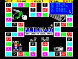 Pictionary: The Game of Quick Draw ZX Spectrum The Help option shows the current score, copyright information