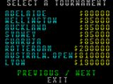 International 3D Tennis ZX Spectrum This is a selection of the tournaments that can be played. There are ten screens like this - which makes eighty tournaments in all