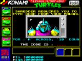 Teenage Mutant Ninja Turtles ZX Spectrum Copy protection; if you pass, Shredder will tell that he has captured April O'Neil.