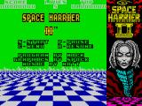 Space Harrier II ZX Spectrum Main menu