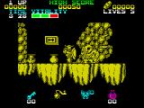 Black Tiger ZX Spectrum Enemies are hard to see in the mono-coloured environment.