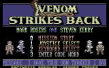 VENOM Strikes Back Commodore 64 Title screen and main menu