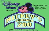 Mickey's Runaway Zoo Commodore 64 Title screen