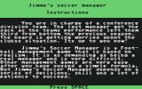 Jimmy's Soccer Manager Commodore 64 Instructions