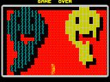 TRAZ ZX Spectrum In this game the object was to destroy the yellow bricks and protect the dark bricks. If the ball makes contact with a dark brick a life is lost.