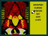Iron Lord ZX Spectrum In one of the houses is a mysterious old man. The player must use the number keys to select an option from the menu