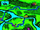 Iron Lord ZX Spectrum Selecting the yellow house just off centre of the screen. The game plays a little animation in the top left window and moves a small pale blue dot along the road to the destination