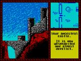 Iron Lord ZX Spectrum The big yellow house is the players ancestral home, bit of a dump now though. The window in the top right shows the player moving about a map of the location