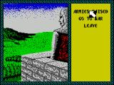 Iron Lord ZX Spectrum Once in the tower the scene changes to a view of the landscape. Here the player can review the armies raised so far and issue a command to go to war