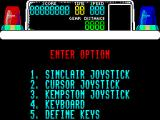Chase H.Q. ZX Spectrum The game menu / controller selection screen