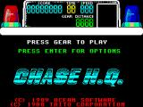 Chase H.Q. ZX Spectrum Having selected the Kempston Joystick as a controller the player then gets this menu. Enter returns to the previous screen, 'FIRE' on the joystick (which is gear change in the game) starts the chase