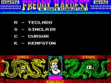 Freddy Hardest in South Manhattan ZX Spectrum The Redefine option (3 on the previous menu) takes the player to this screen where all available supported controllers are shown