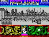 Freddy Hardest in South Manhattan ZX Spectrum Freddy has five lives, shown in the lower left. He needs them because right from the start the bad guys come at him looking for a fight