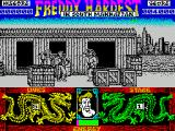 Freddy Hardest in South Manhattan ZX Spectrum Freddy's health bar turns green as his health deteriorates.