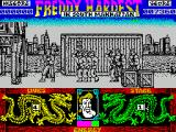 Freddy Hardest in South Manhattan ZX Spectrum Against these kind of odds its better to retreat ans spread the bad guys out than let them all hit Freddy at once
