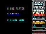 Last Duel: Inter Planet War 2012 ZX Spectrum The game menu is displayed n a trendy font with alternating colours