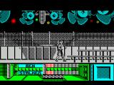 The Running Man ZX Spectrum Jumping is different to most games as Arnie jumps both up and forward so he cannot start a jump too close to the platform