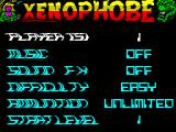 Xenophobe ZX Spectrum ... the game's main menu. The description of the currently selected option revolves and becomes very hard to read.