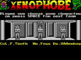 Xenophobe ZX Spectrum Before the game can start the player must select the character they will play as. This lot is screen / team two
