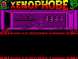Xenophobe ZX Spectrum The action keys are non standard. I managed to get her sitting up but could not get her to stand, so she explored the station while sitting down