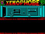 Xenophobe ZX Spectrum 68% infestation. It was 69% when she entered this room but now there's a few less aliens. Sitting up though allows another energy leech to attach itself