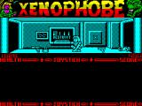 Xenophobe ZX Spectrum The next room. She's lost her gun but luckily there's one or two lying around. There's just over 2 minutes to complete the mission.