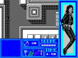 Moonwalker ZX Spectrum The moving dots in the blue lower left window indicate the position of the enemies. The problem is that its hard to place them in relation to Michael