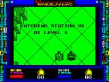 Vindicators ZX Spectrum The start of a 2 player game. The right tank is joystick controlled and the left is keyboard controlled.