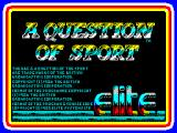 A Question of Sport ZX Spectrum This screen is displayed as the game loads