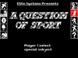 A Question of Sport ZX Spectrum Its replaced by this screen where the player is asked to choose a 1 or a 2 player game. Here a one player game has been selected and the player must choose their specialist subject from the icons