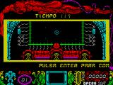 Mutan Zone ZX Spectrum The game displays a side scrolling help text, ENTER to start, Q & A are up & down, O & P are left & right, SPACE is fire