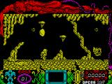 Mutan Zone ZX Spectrum The game starts here with the spaceman being dropped onto the planet surface. There's a big scanner dish thing above his head that shows a picture in the screen below