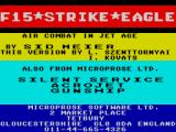 F-15 Strike Eagle ZX Spectrum Title screen and advert