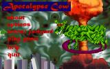 Apocalypse Cow DOS Game menu. Here the arena can be chosen