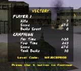 BattleTanx: Global Assault PlayStation At the end of each mission, you will receive a stars screen with also reveals how many 'tank bucks' you earnt to spend.