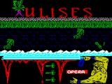 Ulises ZX Spectrum When the game has loaded it plays a kind of rolling demo showing all kinds of baddies, like this cabbage on legs, running along the top of the wall