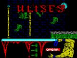 Ulises ZX Spectrum and ropes to navigate while avoiding falling balls