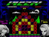 Pussy: Love Story from Titanic ZX Spectrum level 2. The red bricks cannot be destroyed. The purple bricks are hollow and Leo just falls through them. kate's trapped in the middle
