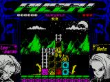 Pussy: Love Story from Titanic ZX Spectrum Level 3. This is the first time Leo gets to climb ladders. The exploding brick makes an appearance here too