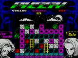 Pussy: Love Story from Titanic ZX Spectrum level 4. Leo cannot break the purple bricks and he cannot jump. Somehow he must clear a way to Kate