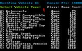 Roadwar Europa Amiga Selecting vehicles