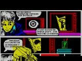 MOT ZX Spectrum The load screen clears and a hand starts to draw a comic strip. The screen scrolls upwards as it does so