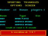 Sporting Triangles ZX Spectrum The final act of setting the game up is to determine the length of each round, 0 means the rounds are un-timed. Here 15 seconds has been entered and the game asks for confirmation that all is correct