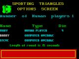Sporting Triangles ZX Spectrum A spinning dice is used to determine the order of the players
