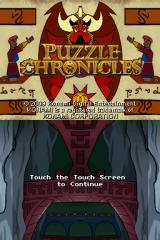 Puzzle Chronicles Nintendo DS Title screen.