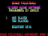 Beach Volley ZX Spectrum The main game menu.